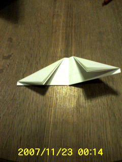 中央で折りたたみ、両端を斜めに折った状態